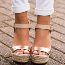 Load image into Gallery viewer, Golden Buckle Strap Wedges Sandals