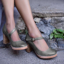 Load image into Gallery viewer, Mary Jane Ankle Buckle High Chunky Heels Shoes
