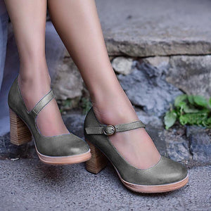 Mary Jane Ankle Buckle High Chunky Heels Shoes