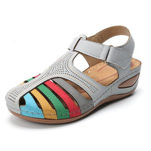Load image into Gallery viewer, Comfy Rainbow Adjustable Hook Loop Closed Toe Wedges Sandals