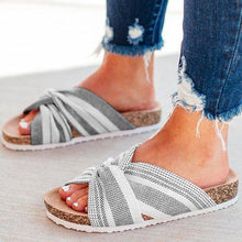 Load image into Gallery viewer, Cloth Upper Twist Flat Stripe Mule Sandals