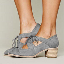 Load image into Gallery viewer, Lace-Up Everyday Medium Heel Artificial Suede Block Heel Shoes