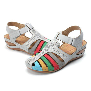 Comfy Rainbow Adjustable Hook Loop Closed Toe Wedges Sandals