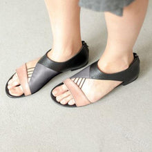 Load image into Gallery viewer, Chic Fashion Open Toe Color Block Flat Sandals