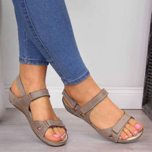 Load image into Gallery viewer, Casual Hook&Loop Closure Solid Flat Women Sandals