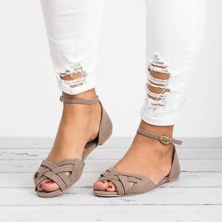 Women Buckle Strap Peep Toe Flat Sandals