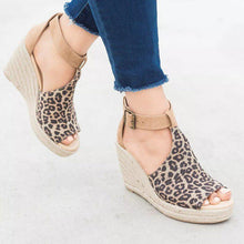 Load image into Gallery viewer, Women Chic Espadrille Wedges Sandals with Adjustable Buckle