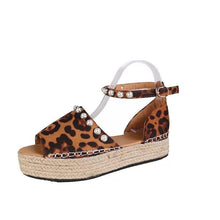 Load image into Gallery viewer, Yellow Flocking Upper Beading Ankle-Strap Platform Espadrille Sandals