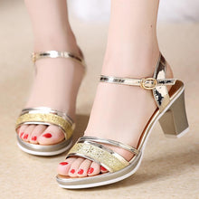 Load image into Gallery viewer, Chunky Heel Open Toe Elegant Date Sandals