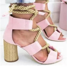 Load image into Gallery viewer, Multicolor String Crisscross High Heels Hollow Sandals
