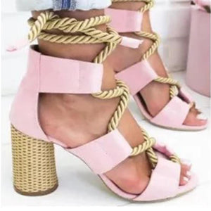 Multicolor String Crisscross High Heels Hollow Sandals