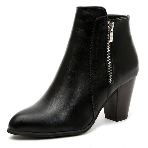 Retro Vintage Ankle Boots Side Zipper High Heels