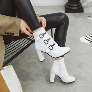 High Heels Boots Zipper Round Toe Winter Ladies Boots Boots Woman