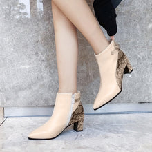 Load image into Gallery viewer, Elegant Ankle Boots Fashion Chunky Heels