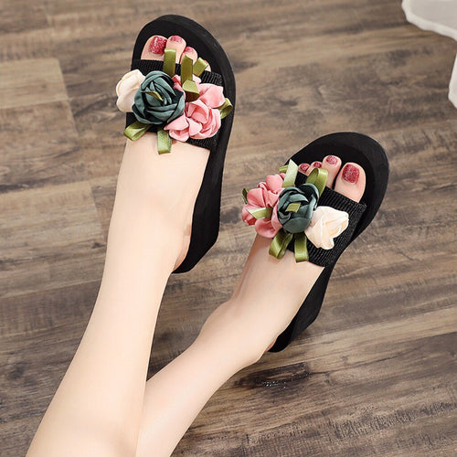 Slip-on Open Toe Wedges Heel Causal Flower Slipper Slides Shoes
