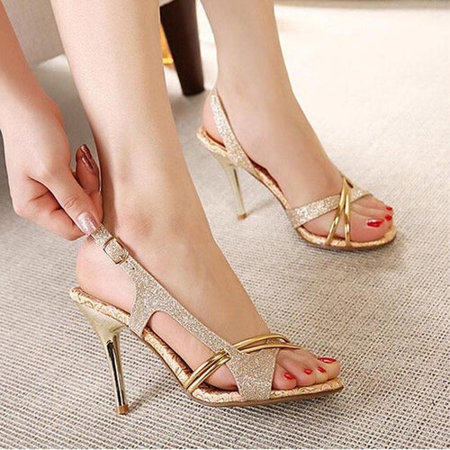 Thin High Heels Gladiator Heels Open Toe Hollow Out Bling Glitter PU Sandals