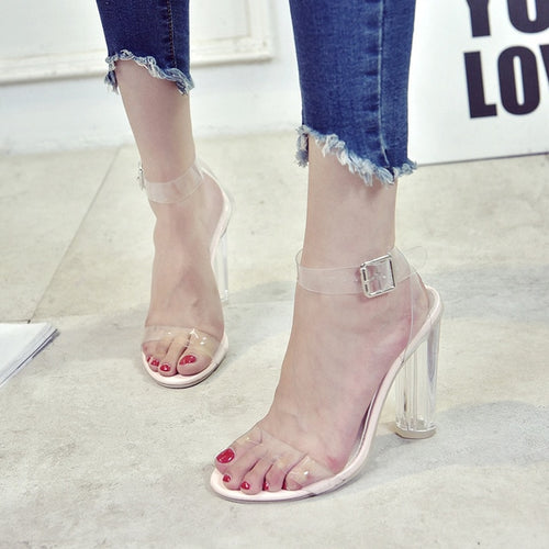 Open Toed High Heels Women Platform Transparent Heel Sandals Slippers
