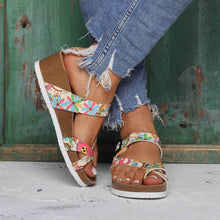 Load image into Gallery viewer, Summer Wedge Heel Buckle Sandals