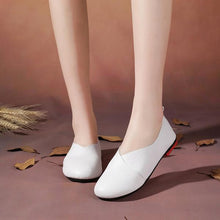 Load image into Gallery viewer, Large Size Pure Color Round Toe PU Slip On Vintage Casual Flat Loafers Shoes
