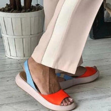 Load image into Gallery viewer, Chic Color Block Peep Toe Flat Mule Sandals