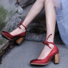 Load image into Gallery viewer, Ankle Lace-Up Square Toe Mary Jane High Heels Shoes