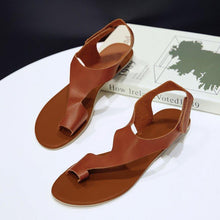 Load image into Gallery viewer, Women Plus Size Magic Tape Flat Heel Sandals