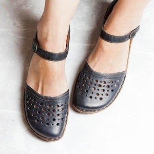 Flat Heels Buckle Holes Hollow Sandals