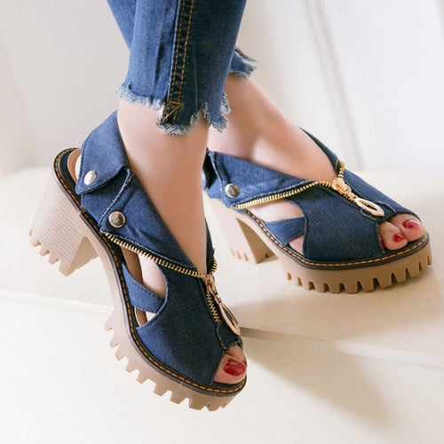 Women's Cuffed Denim High Heel Sandals Thick Platform Fish Mouth Casual Shoes shoes woman