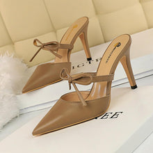 Load image into Gallery viewer, wedding shoes bride mules shoes women pointed toe high heels shoes fetish high heels black pumps black high heels