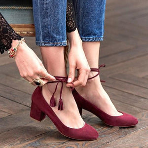 Solid Flocking Ankle Tassle Lace-Up High Chunky Heels Point Toe Stilettos