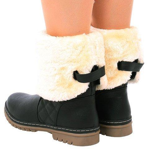 Womens Warm Pu Winter Low Heel Snow Boots