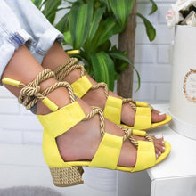 Load image into Gallery viewer, Boho Style Color Block Crisscross Medium Heel Sandals