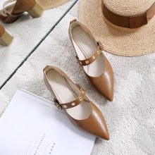 Load image into Gallery viewer, Pu Elegant Point Toe Eyelet Buckle Medium Chunky Heels Sandals