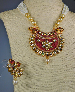 Necklace & Earrings Set: Pearls & Stones