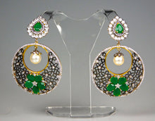 Load image into Gallery viewer, Earrings: Emerald & American Diamond Collection
