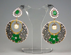 Earrings: Emerald & American Diamond Collection