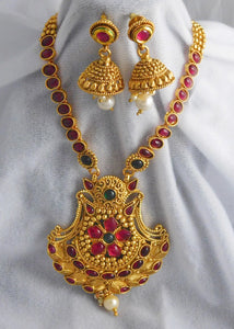 Long Necklace & Earrings Set: Temple Jewelry Collection