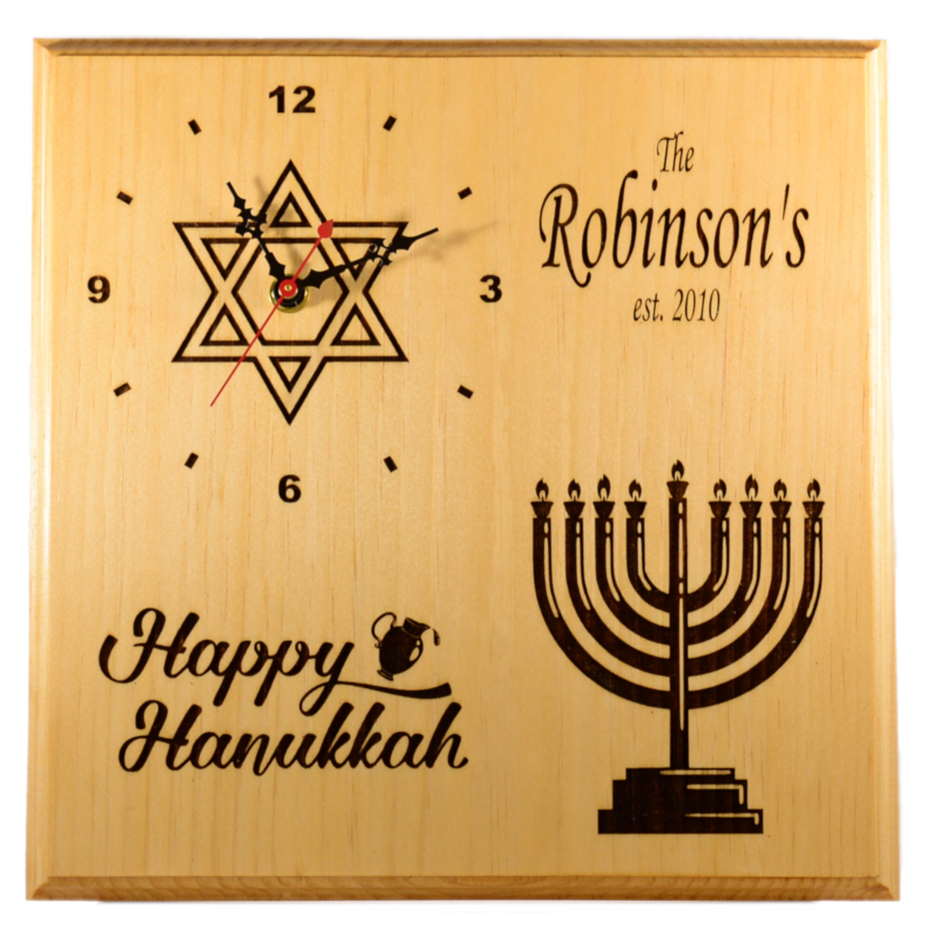 Personalized Holiday Hanukkah Clock -  Festival of Lights Holiday Home Decor Gift
