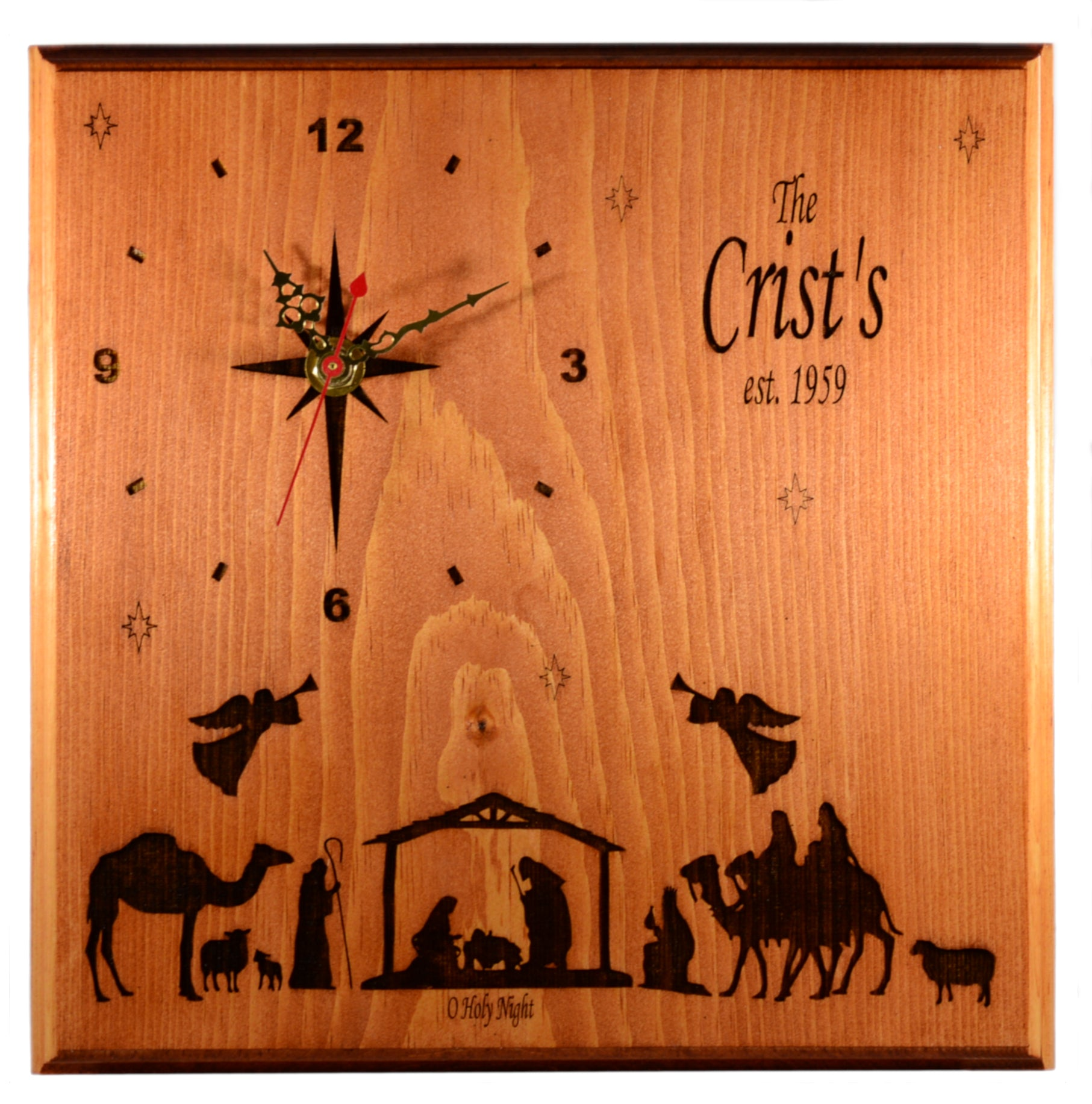 Holiday Nativity Clock - Personalized Christmas Home Decor Gift