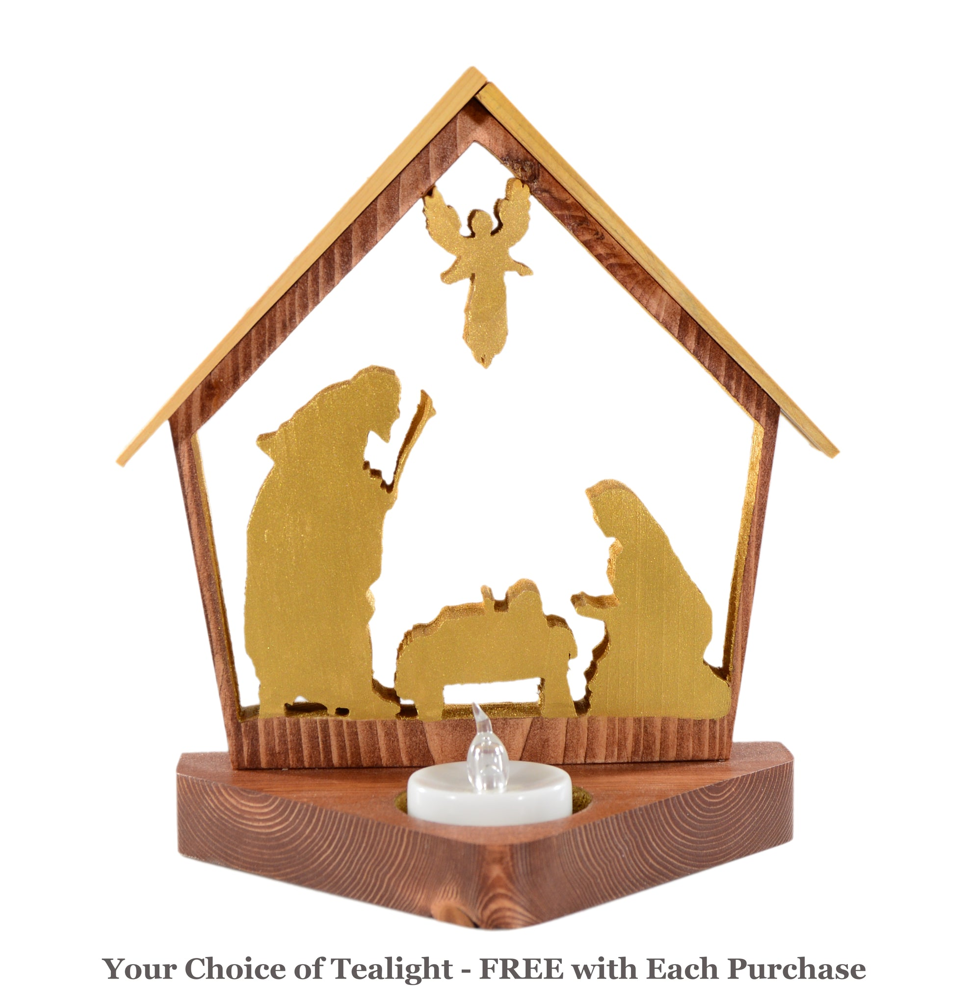 NATIVITY SCENE 3pc Set Holiday Keepsake Tealight Candle Holders - Personalized Christmas Home Decor Gift
