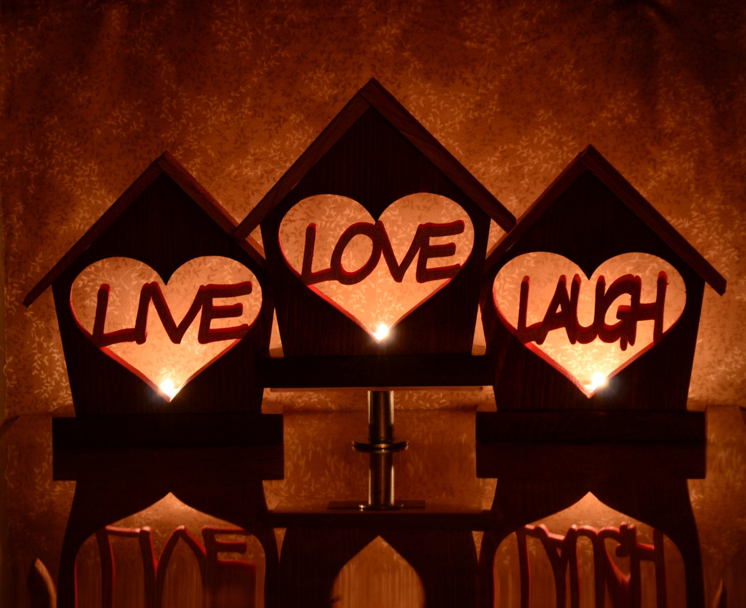 Live Love Laugh Tealight Candle Holder Circle Set- Personalized Inspirational Home Decor Gift