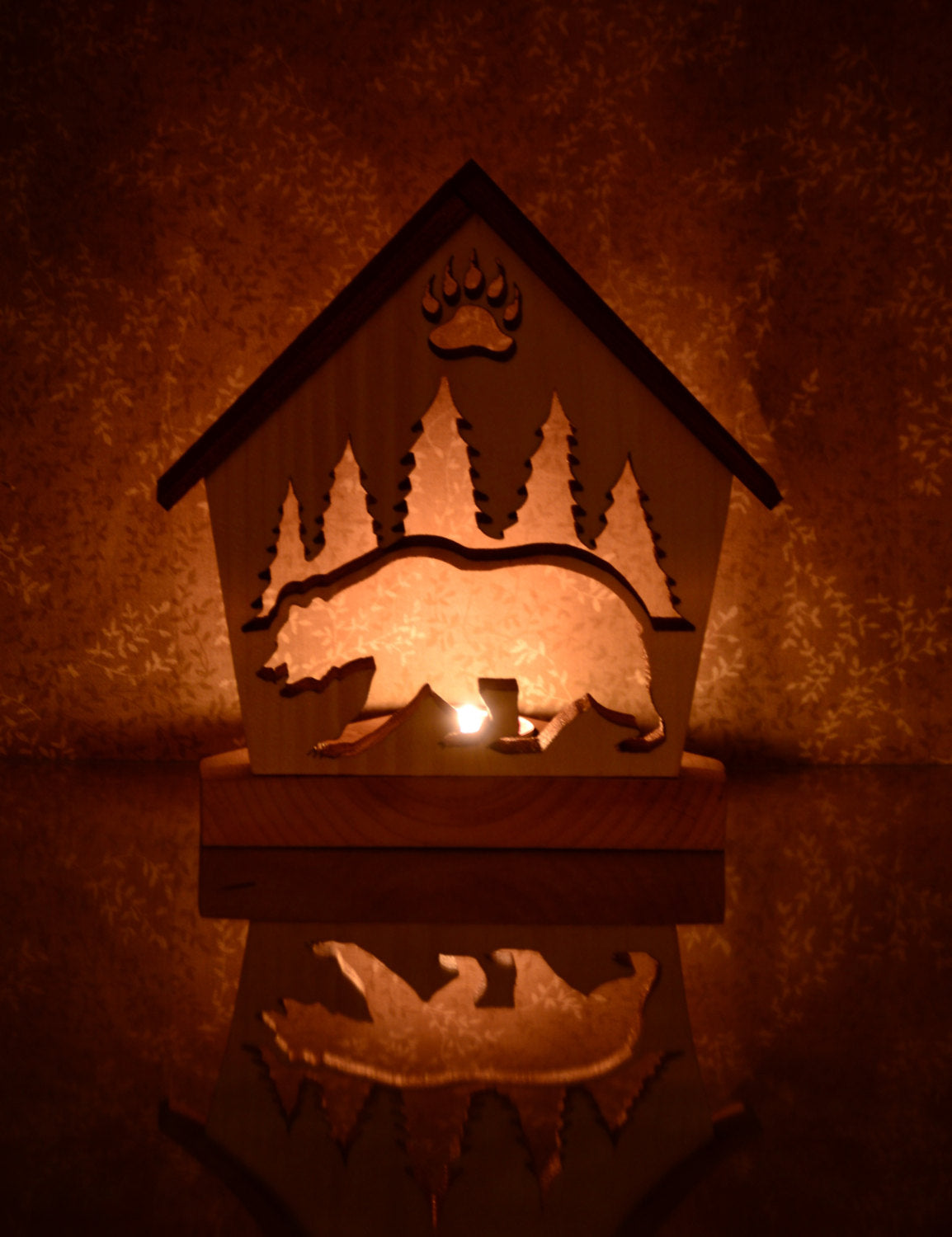 Brown Bear Tealight Candle Holder Cottage - Personalized Bear Home Décor
