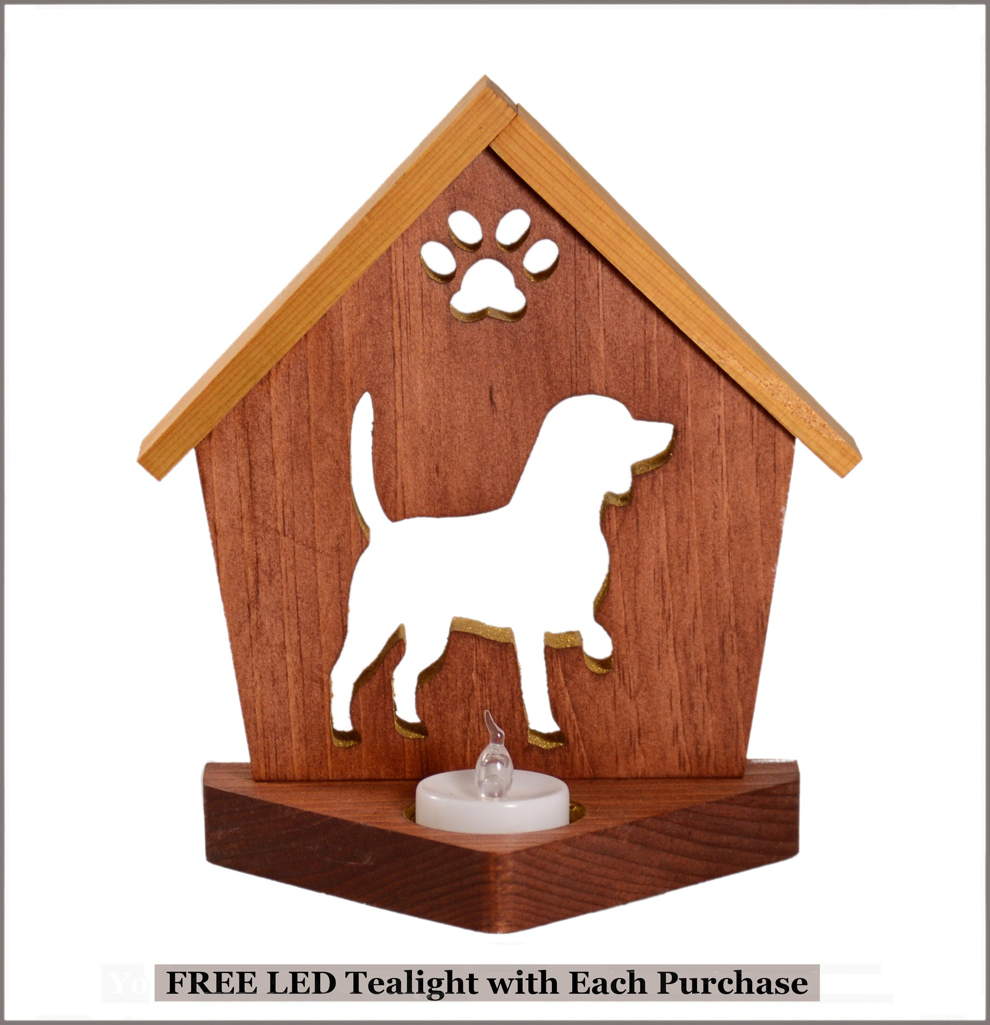 Beagle Dog Memorial Keepsake Tealight Candle Holder • Personalized Gift for Dog Lovers