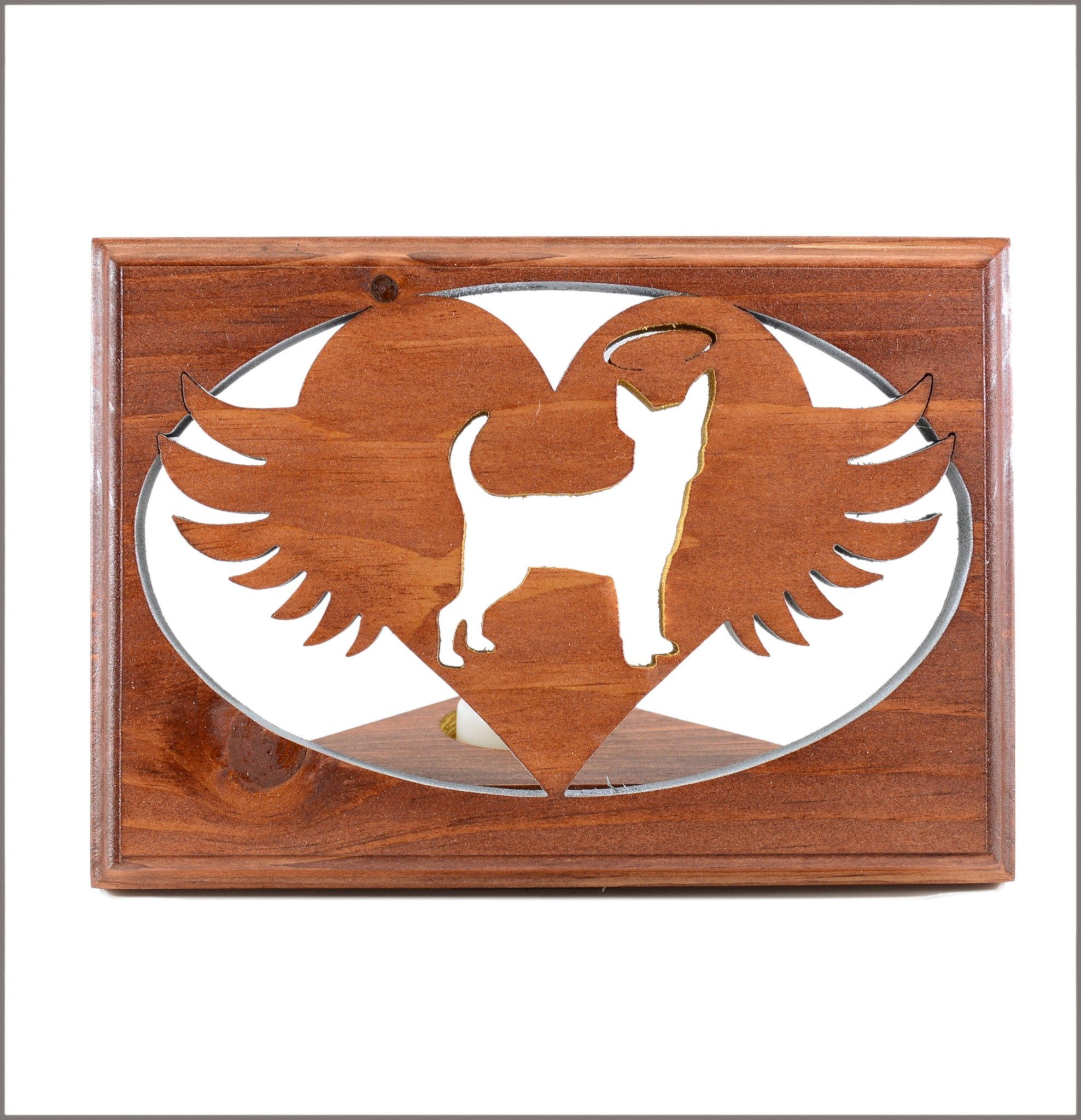 Cavalier King • Chihuahua • Chinese Crested • Chow - Personalized Dog memorial • Angel Wing Tealight Candle Holder
