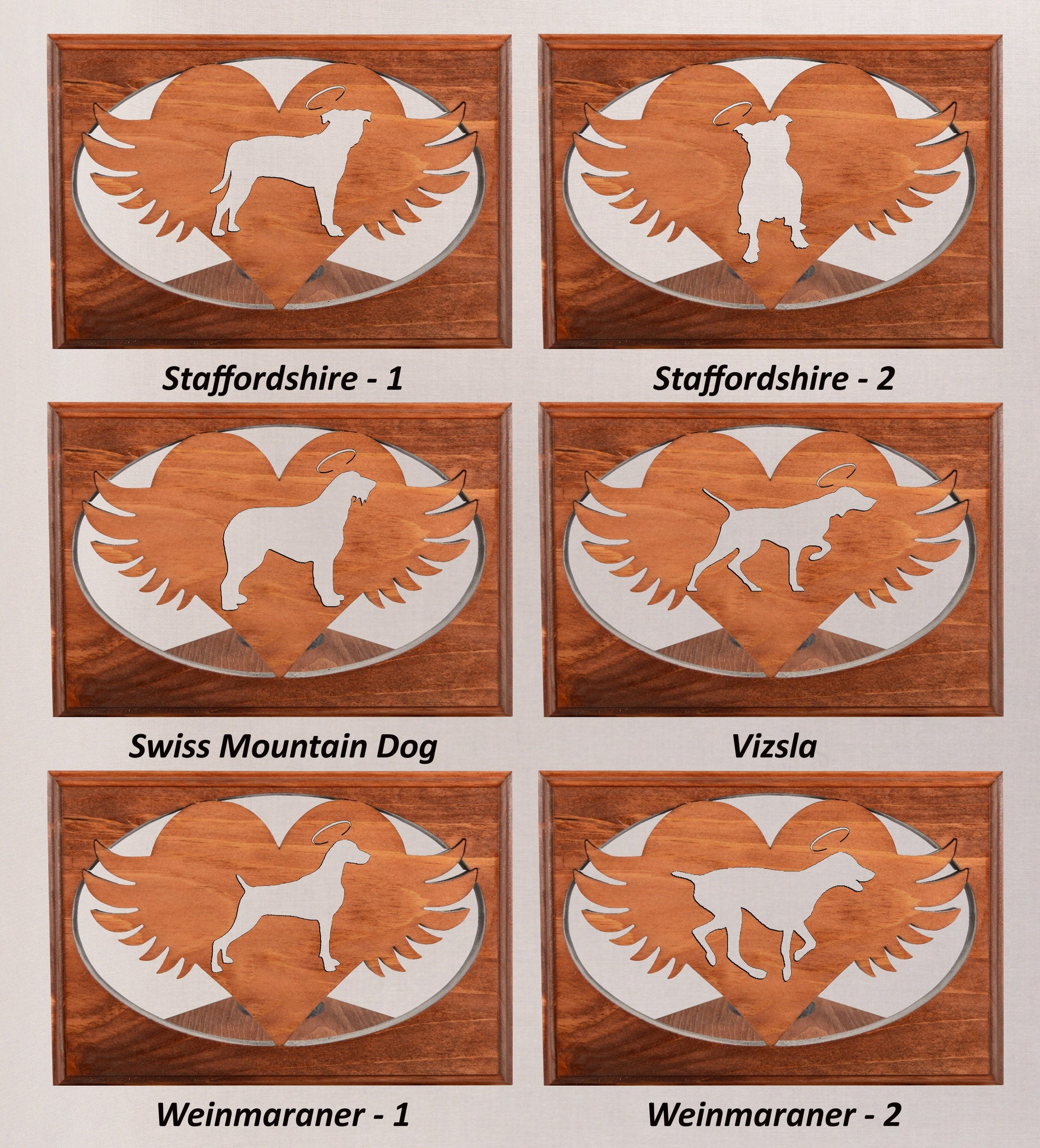 Staffie • Swiss Mountain • Vizsla • Weimaraner - Personalized Dog Memorial • Angel Wing Tealight Candle Holder