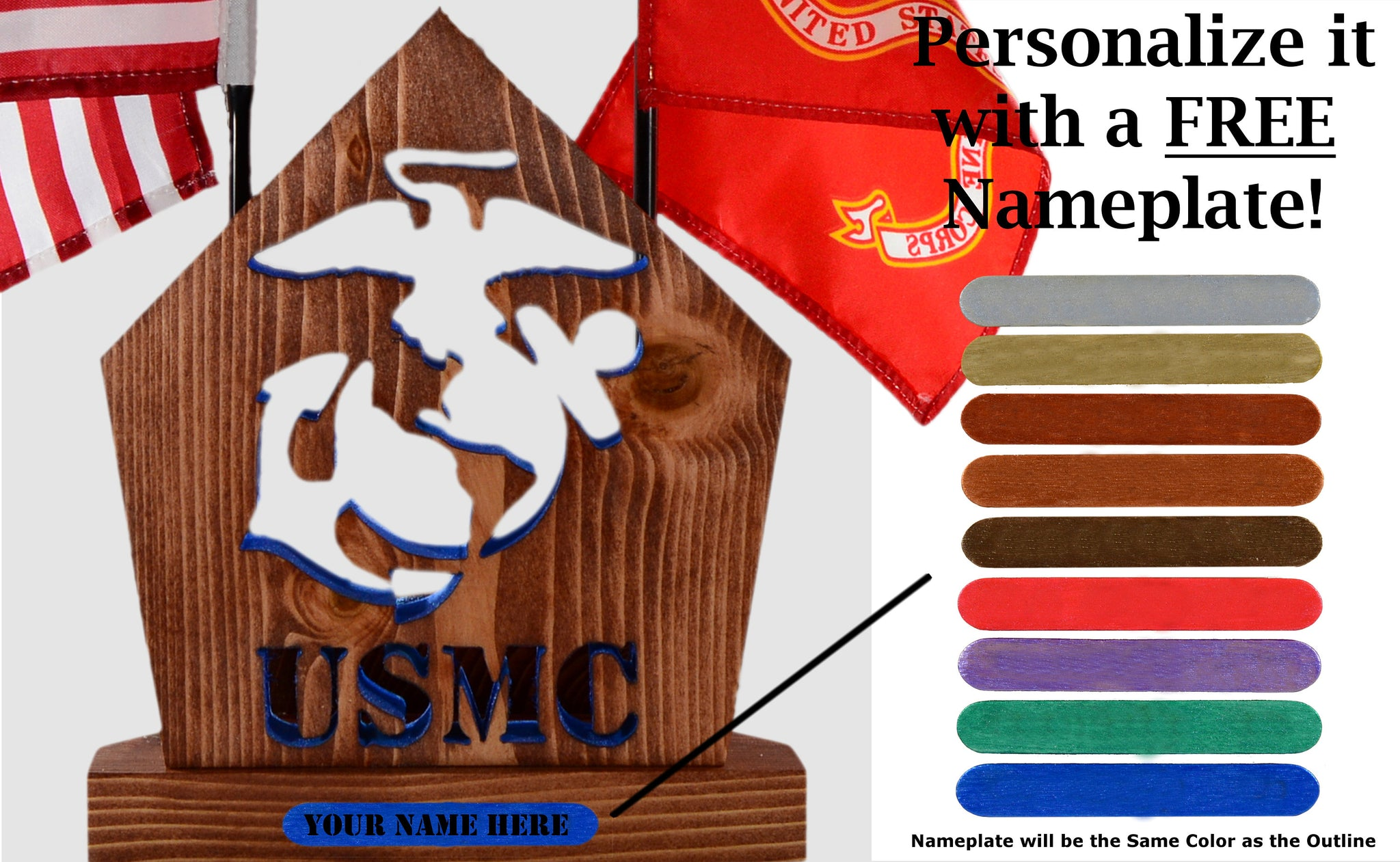 MARINE Insignia Desk Set • Personalized Gift for Veteran Soldier Officer