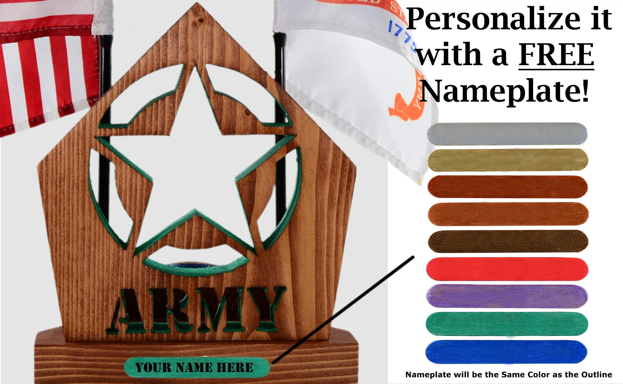 ARMY Star Insignia Desk Set • Personalized Gift for Veteran Soldier