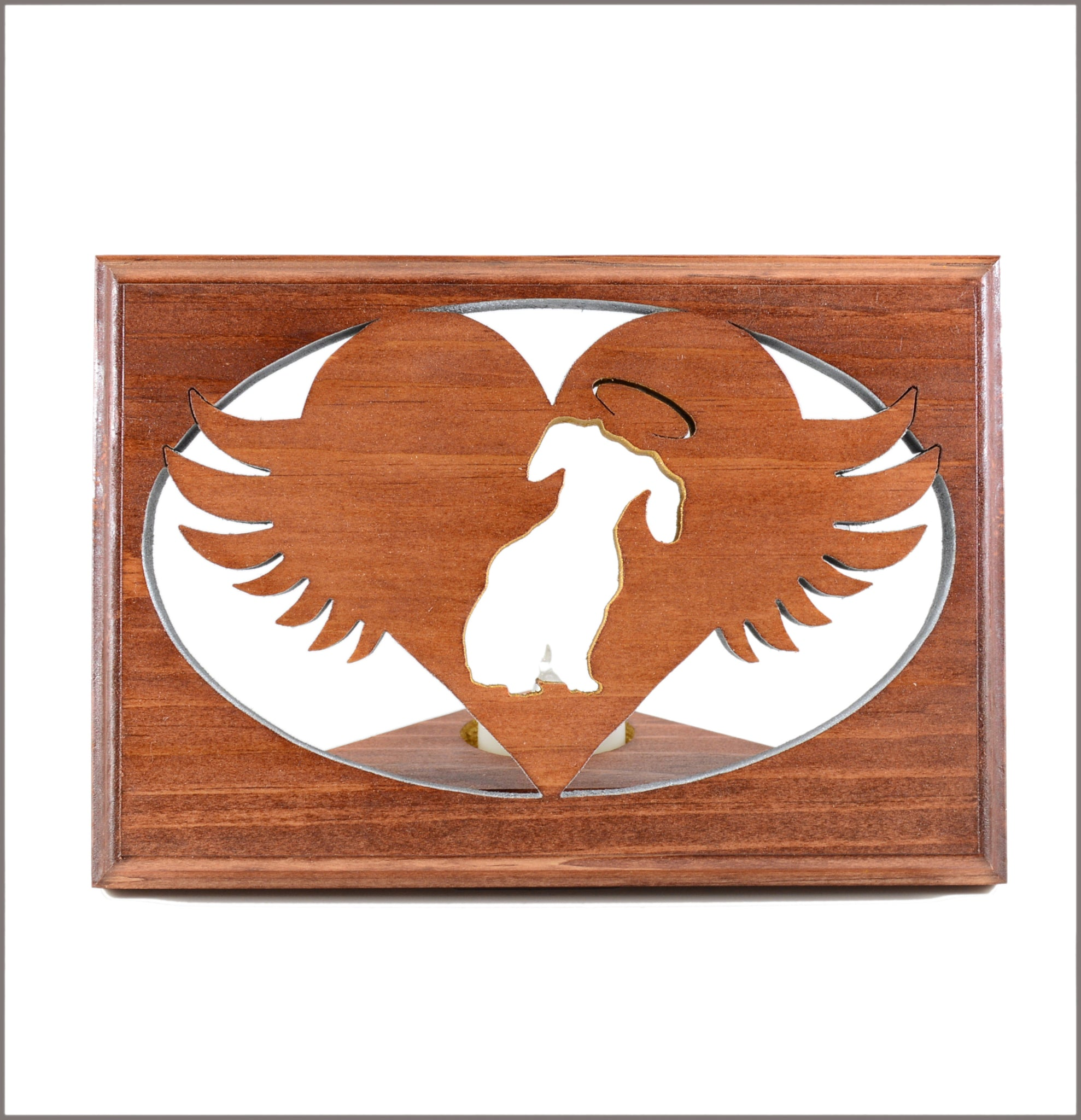 Dachshund • Dalmatian • Doberman - Personalized Dog Memorial • Angel Wing Tealight Candle Holder