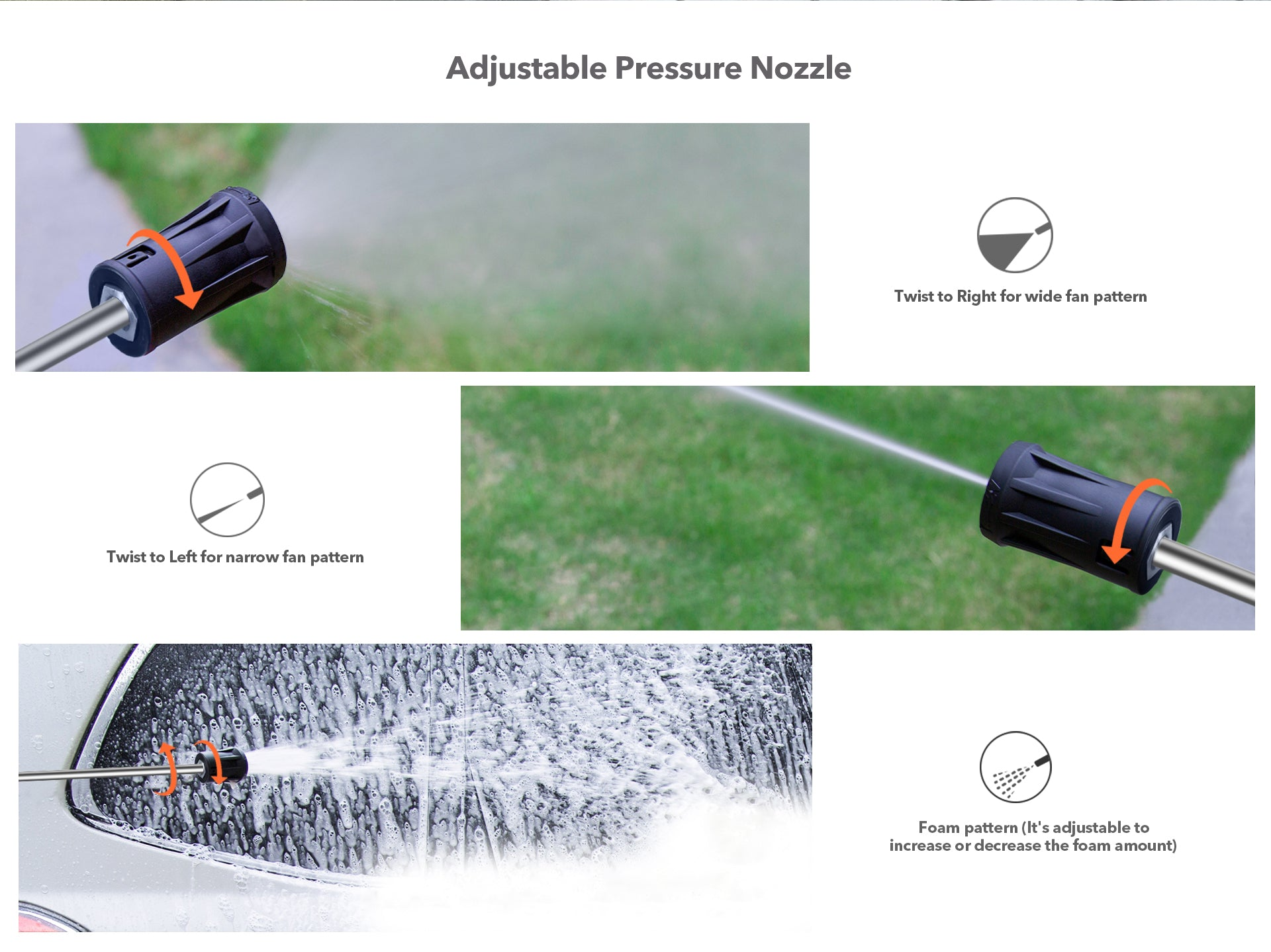 2150 PSI Electric Pressure Washer Adjustable nozzles