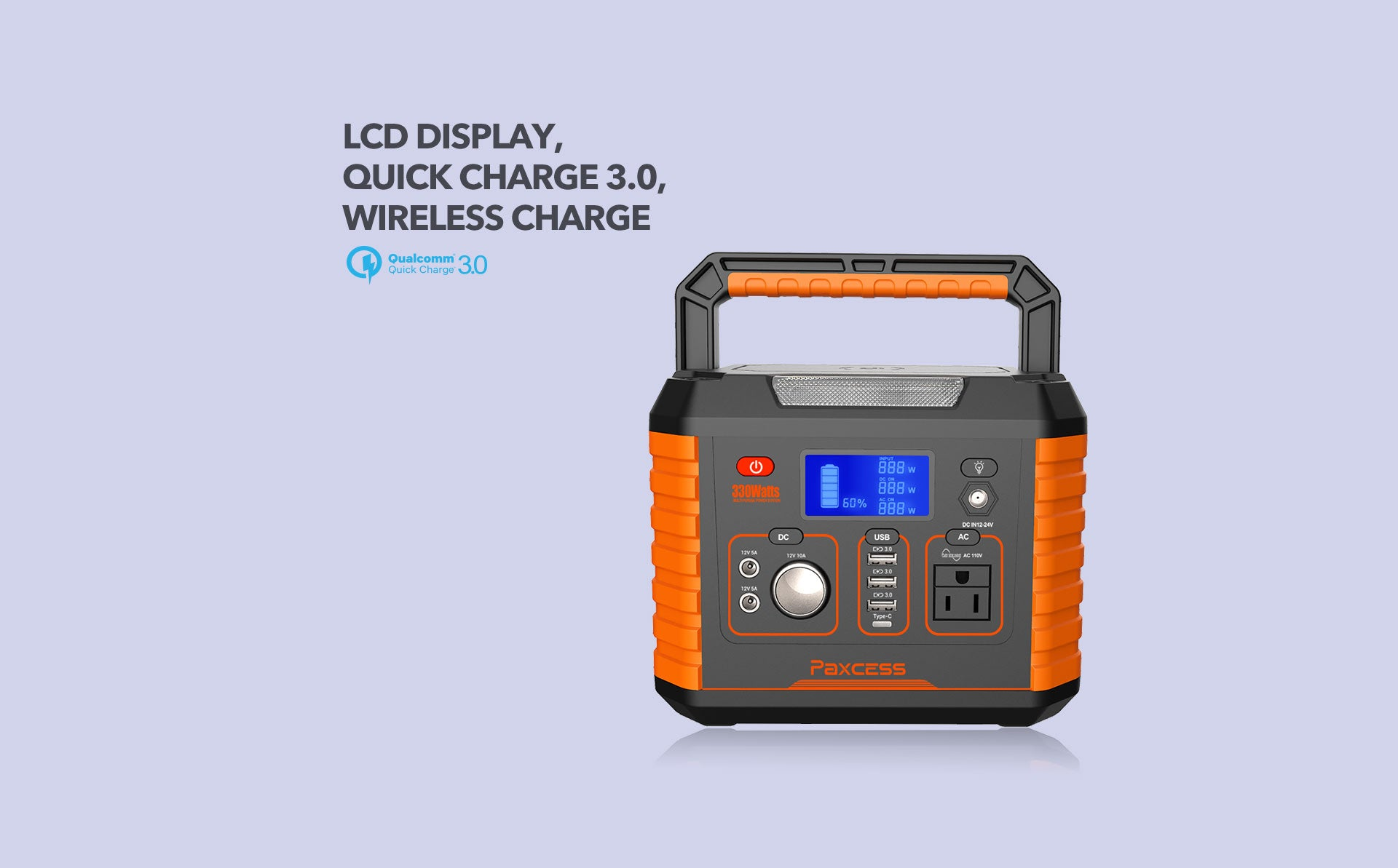 Paxcess 330W Portable Power Station with Quick Charge 3.0